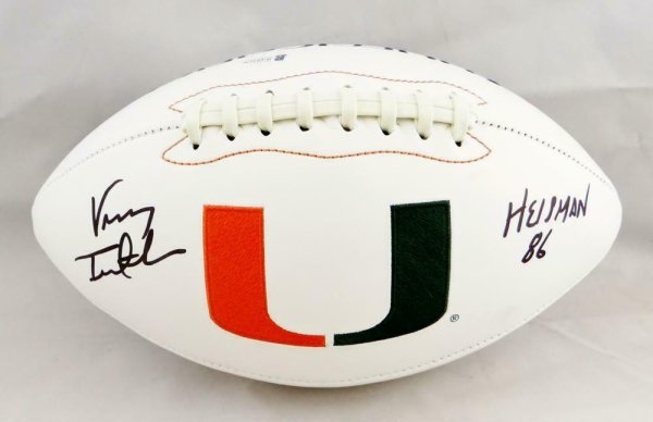 Vinny Testaverde Autographed Signed Miami Hurricanes Logo Football With Insc-Beckett Auth