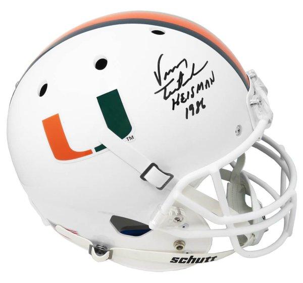 Vinny Testaverde Signed Miami Hurricanes Schutt Full Size Replica Helmet w//Heisman 1986