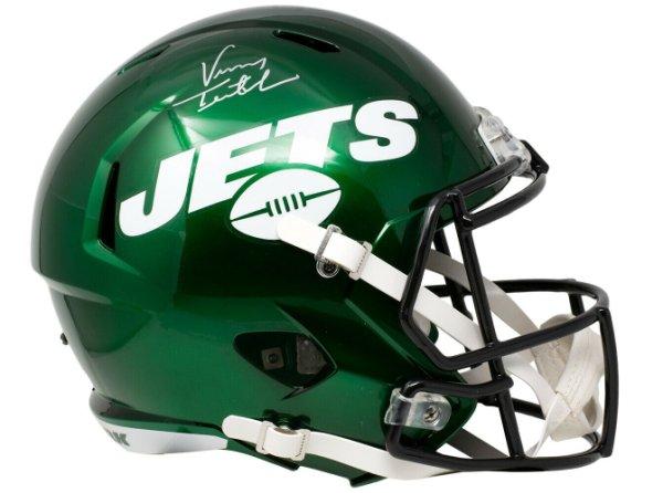Vinny Testaverde Autographed Signed New York Jets Full Size Green Spd Replica Helmet JSA Itp