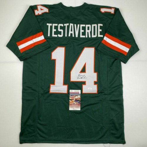 Vinny Testaverde Autographed Signed /Signed Miami Green College Football Jersey JSA COA