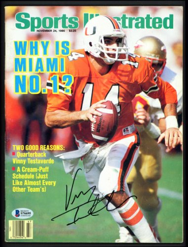Vinny Testaverde Autographed Signed Sports Illustrated Magazine Miami Hurricanes Beckett BAS #S76695