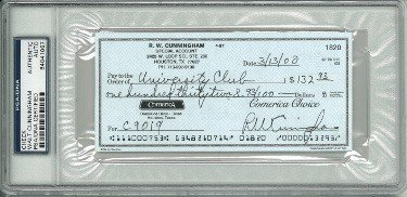 Walt/RW Cunningham Autographed Signed Personal Check #1820- PSA Encapsulated #84041067 (Apollo/Astronaut)