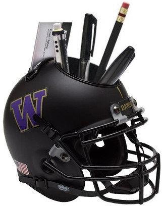 Washington Huskies Black NCAA Football Schutt Mini Helmet Desk Caddy