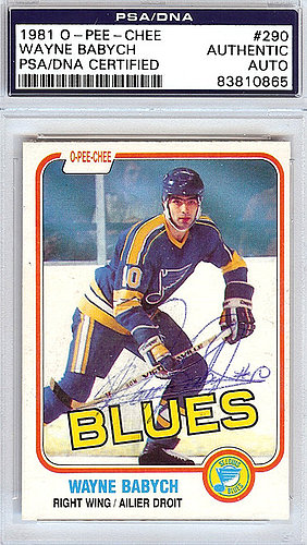 Wayne Babych Autographed Signed 1981 O-Pee-Chee Card #290 St. Louis Blues - PSA/DNA Certified