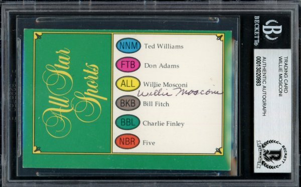 Willie Mosconi Autographed Signed Trivial Pursuit Card Beckett BAS