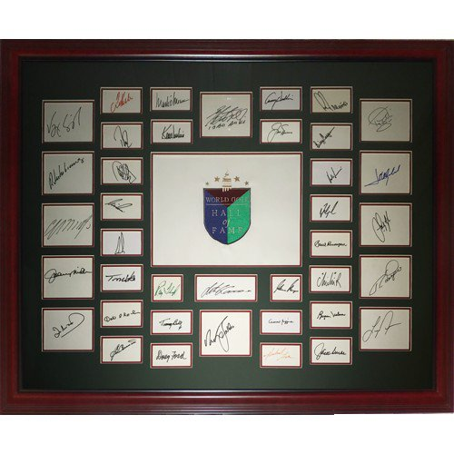 World Golf H Autographed Signedall of Fame Embroidered Golf Pin Flag Deluxe Framed with 39 Signatures