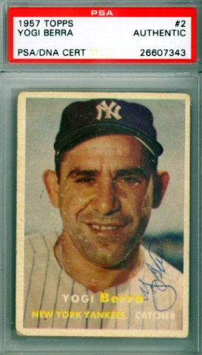 Yogi Berra Autographed Signed 1957 Topps Card #2 New York Yankees - PSA/DNA Authentication