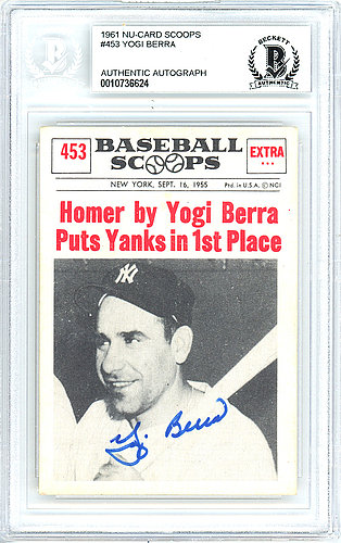 Yogi Berra Autographed Signed 1961 Nu-Card Baseball Scoops Card Autographed Signed #453 New York Yankees - Beckett Authentic