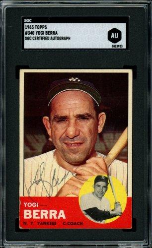 Yogi Berra Autographed Signed 1963 Topps Card #340 New York Yankees Sgc #Au1002933