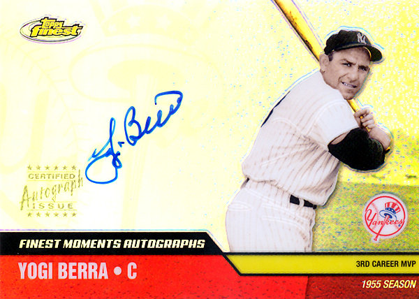 Yogi Berra Autographed Signed 2002 Topps Finest Moments Autographs Card #FMA-YB New York Yankees SKU # 123917
