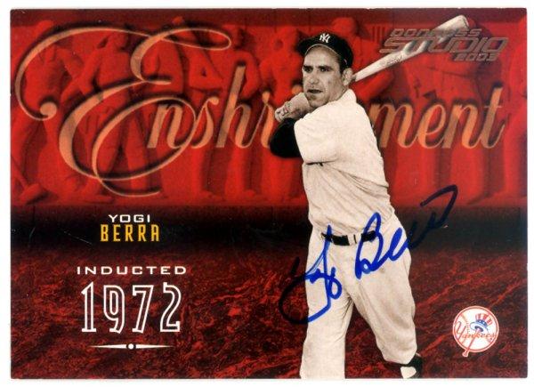 Yogi Berra Autographed Signed 2003 Donruss Studio Enshrinement Card #E-47 New York Yankees #108/750 - Certified Authentic