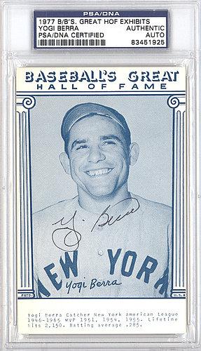 Yogi Berra Autographed Signed Auto 1977 Baseball's Great HOF Exhibits Postcard New York Yankees - PSA/DNA Certified