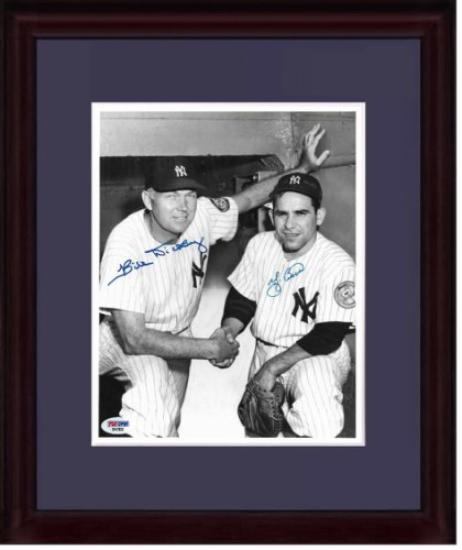 Yogi Berra Autographed Signed & Bill Dickey Yankees #8 Catcher 8X10 Photo Framed Auto PSA