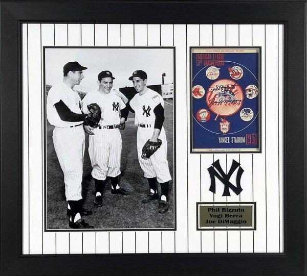 Yogi Berra Autographed Signed , Joe Dimaggio & Phil Rizzuto Framed 1951 Yankees Program JSA