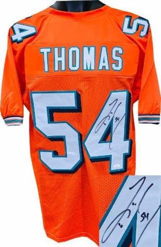 Zach Thomas Autographed Signed Orange Custom Stitched Pro Style Football Jersey #54 XL- JSA Witnessed