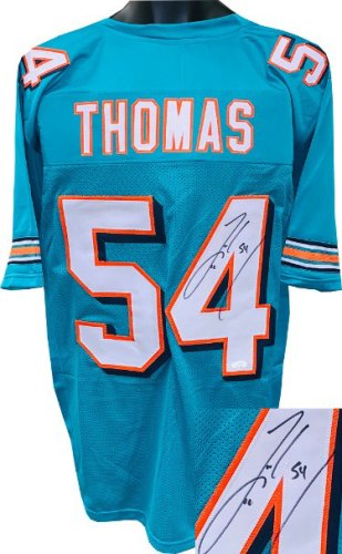Zach Thomas Autographed Signed Teal Custom Stitched Pro Style Football Jersey #54 XL- JSA Witnessed