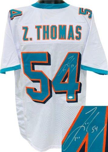 Zach Thomas Autographed Signed White Custom Stitched Pro Style Football Jersey #54 XL- JSA Witnessed