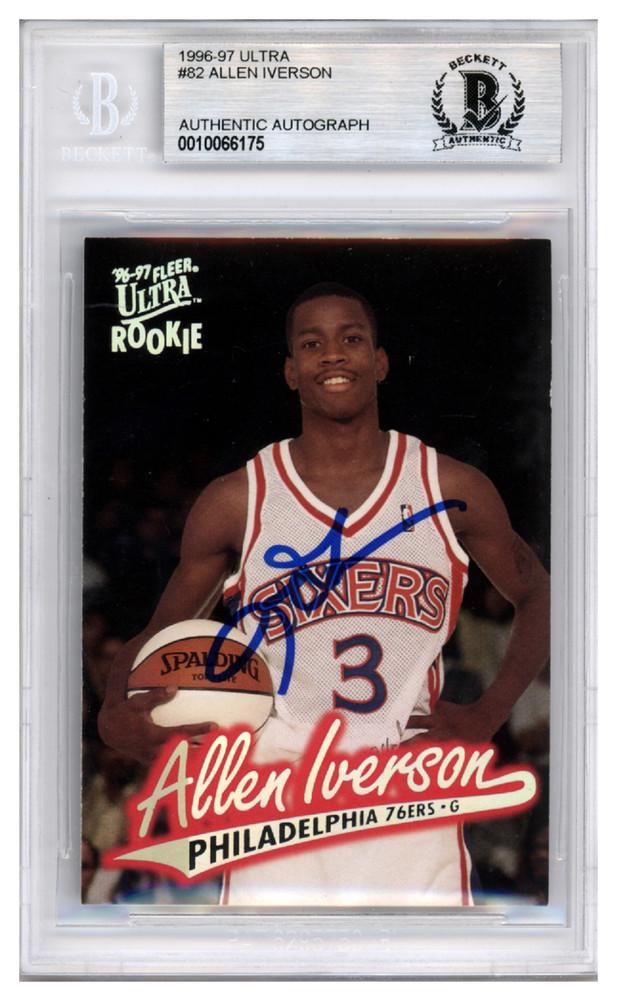 premium selection 857d2 9177b Allen Iverson Autographed Signed 1996-97 Fleer Ultra Rookie ...