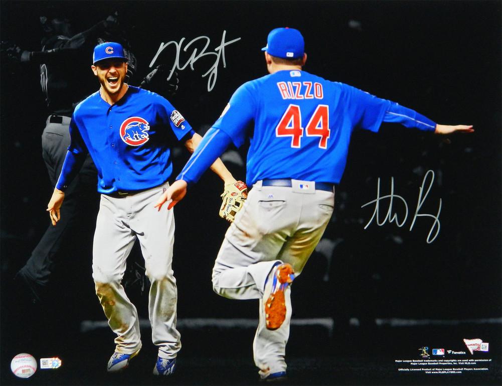 d3ea8c5d Anthony Rizzo & Kris Bryant Dual Autographed / Signed Chicago Cubs 2016  World Series Spotlight Celebration 16x20 Photograph - Authentic Signature