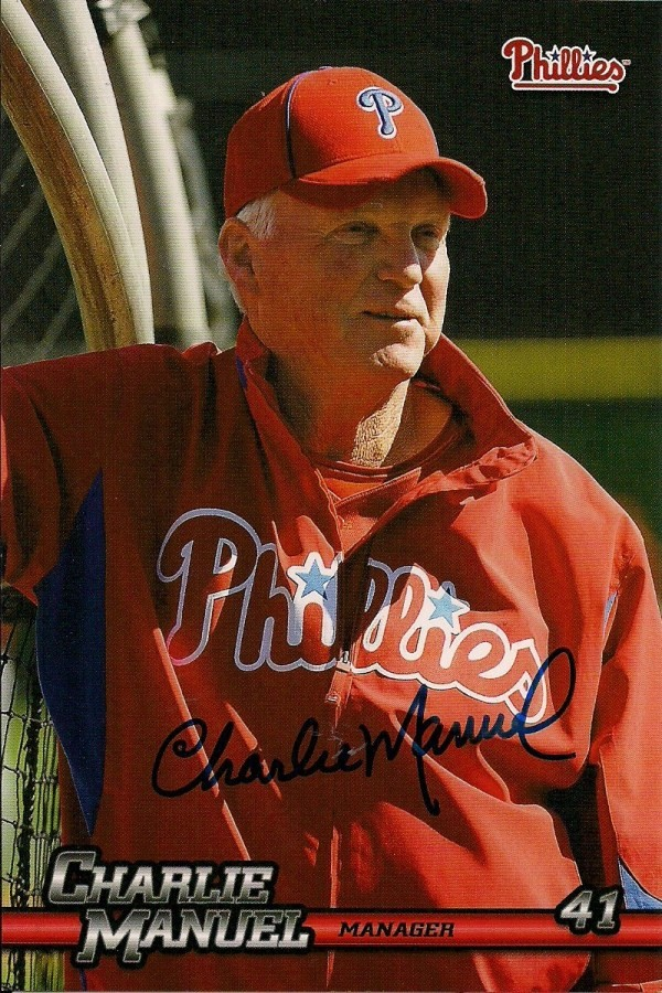 Autographed Signed Charlie Manuel 2010 Phillies Post Card
