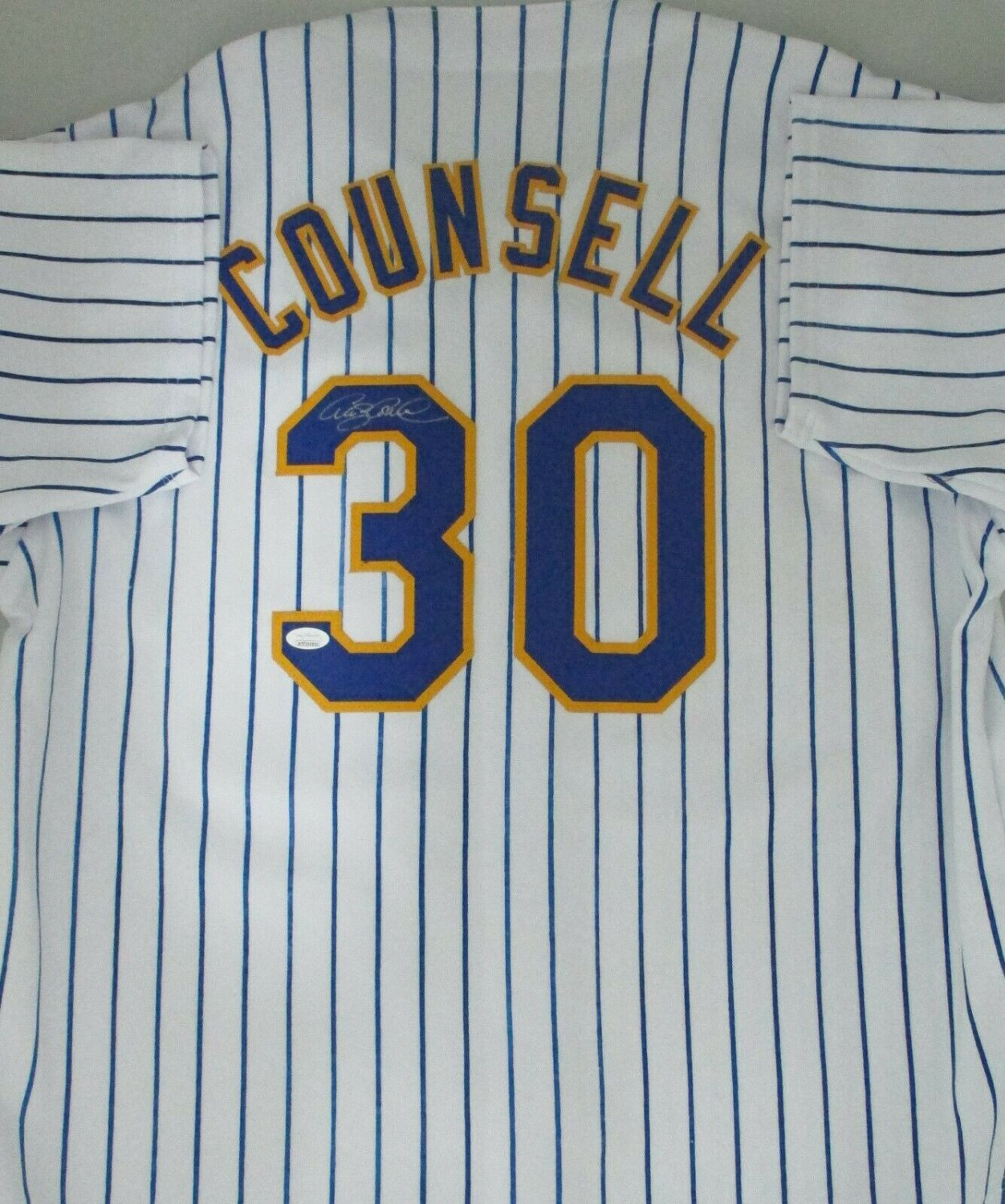 premium selection 91af6 7ec20 Brewers Craig Counsell Autographed Signed Custom Replica ...