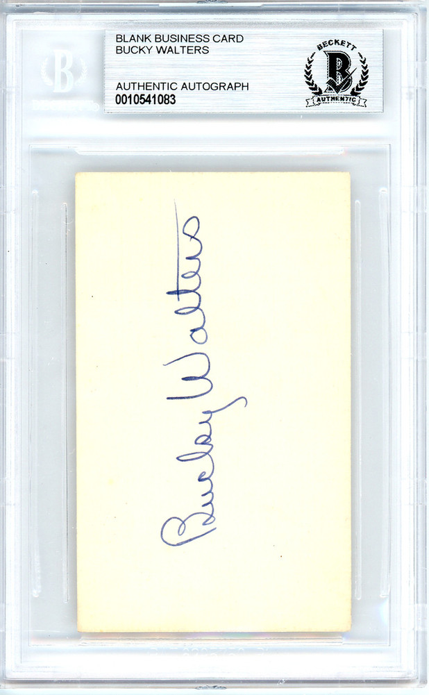 Walters Auto Sales >> Bucky Walters Autographed Signed Auto 2x3 5 Blank Business