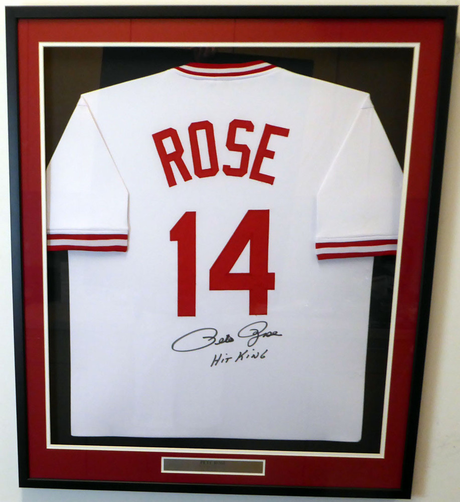Cincinnati Reds Pete Rose Signed Auto Framed White Jersey Hit King ...