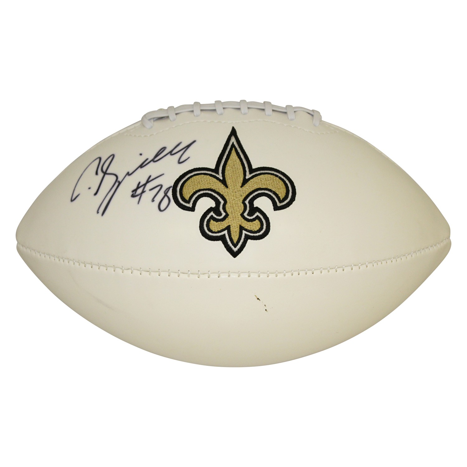 5ef3c0661 CJ Spiller New Orleans Saints Autographed Signed White Panel Logo Football  - Certified Authentic
