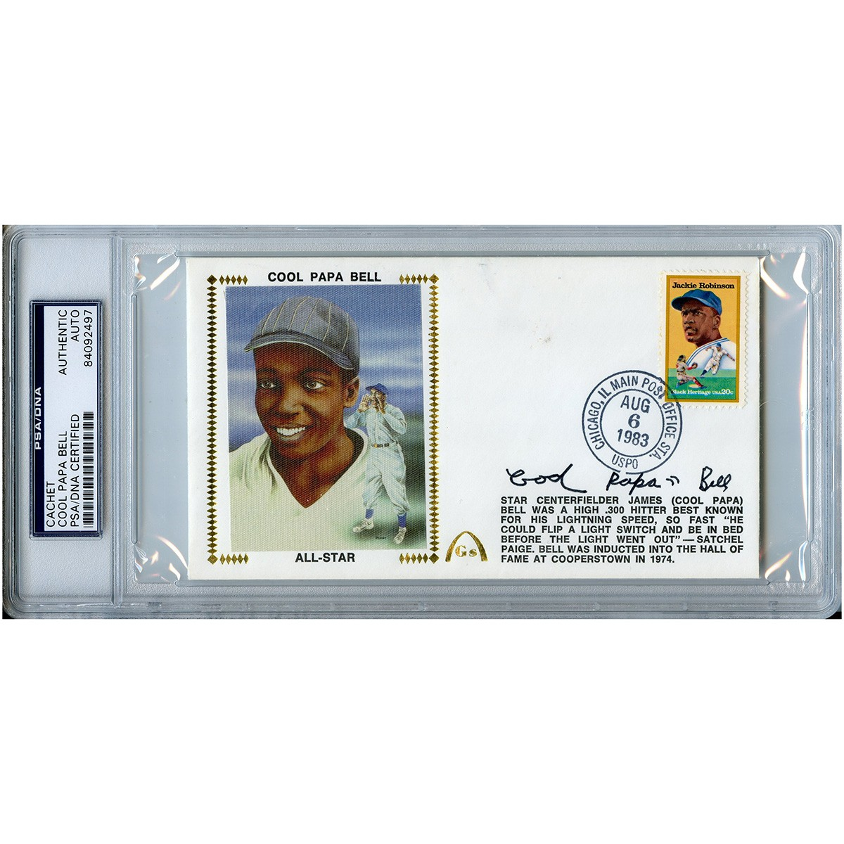 Cool Papa Bell Autographed Signed First Day Cover FDC Cachet PSA/DNA ...