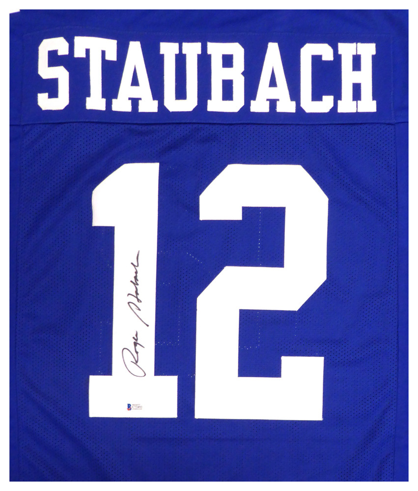timeless design bc875 ab54e Dallas Cowboys Roger Staubach Autographed Signed Blue Jersey ...