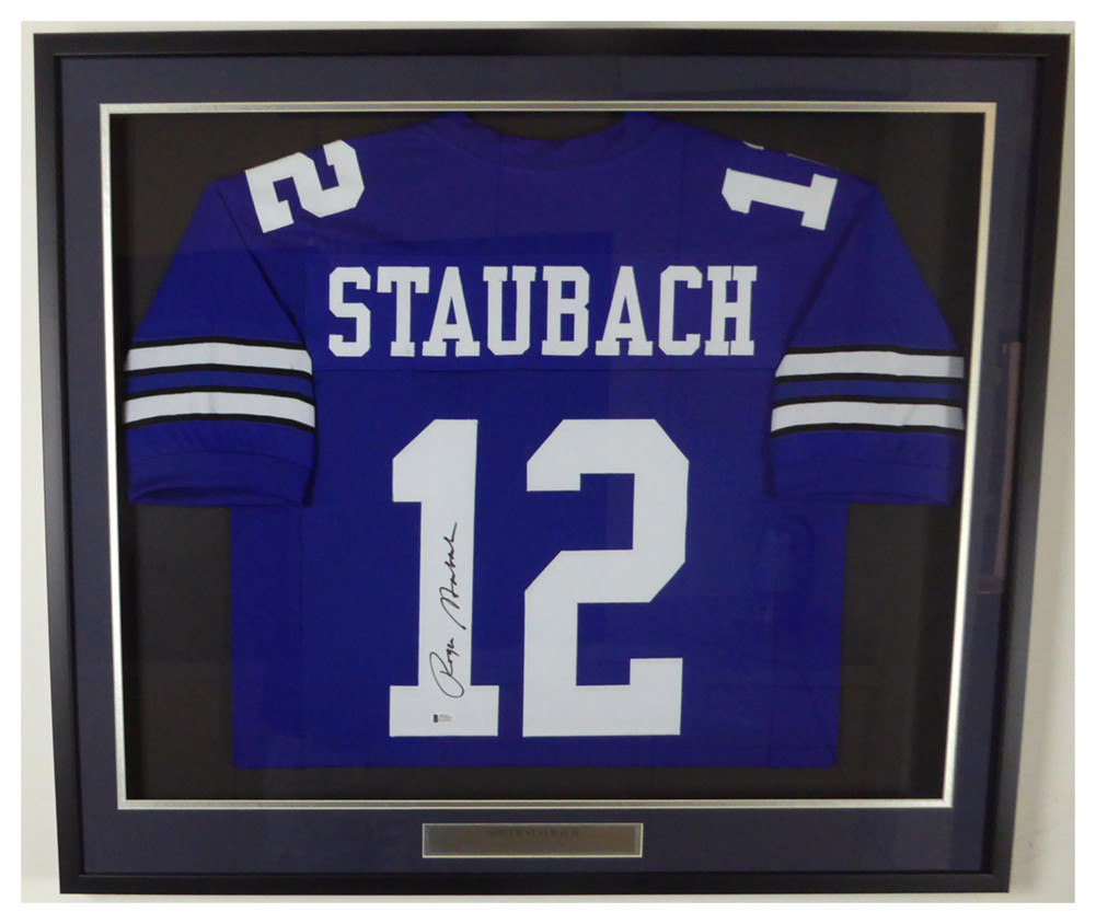 3c36f841 Dallas Cowboys Roger Staubach Autographed Signed Framed Blue Jersey ...