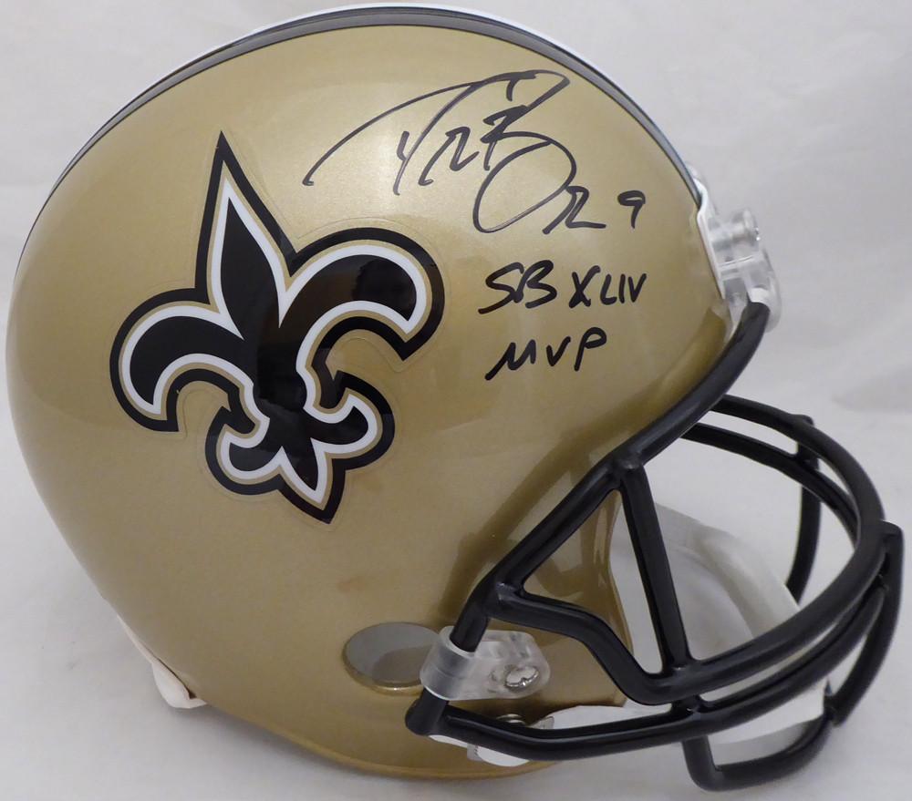 de7f6bd32 Drew Brees Autographed Signed Auto New Orleans Saints Full Size Replica  Helmet SB XLIV MVP - Beckett Certified