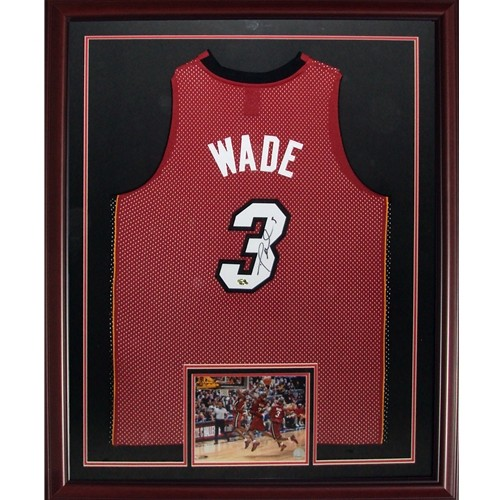 promo code 5ee01 09026 Dwyane Wade Autographed Signed Auto Miami Heat Red #3 Deluxe ...