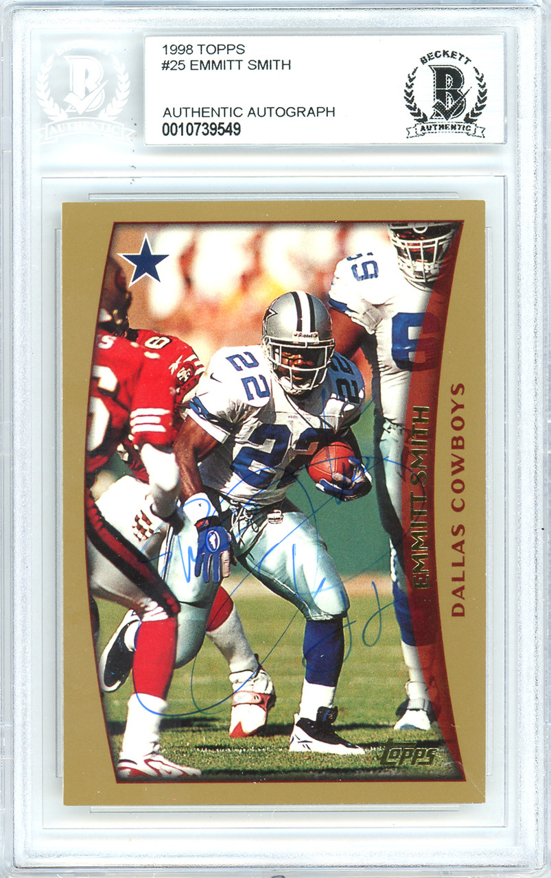 7e1cd9a44ae Emmitt Smith Autographed Signed 1998 Topps Card Autographed Signed ...