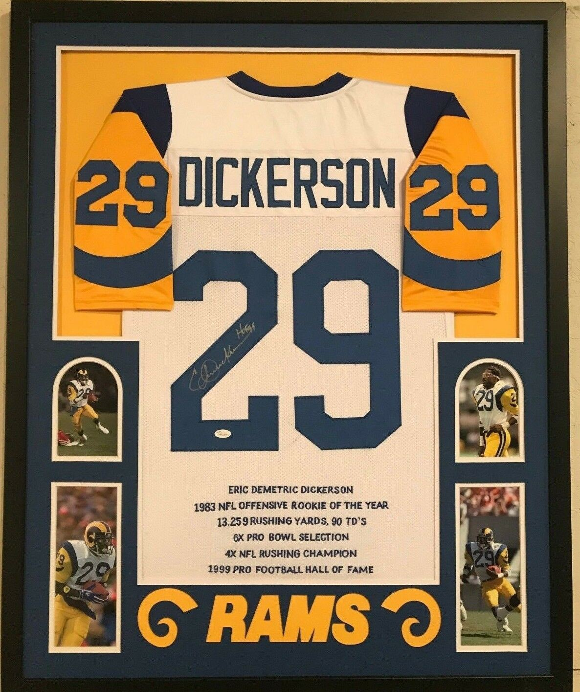 493cf4e9b Framed Eric Dickerson Autographed Signed Inscribed La Rams Stat ...