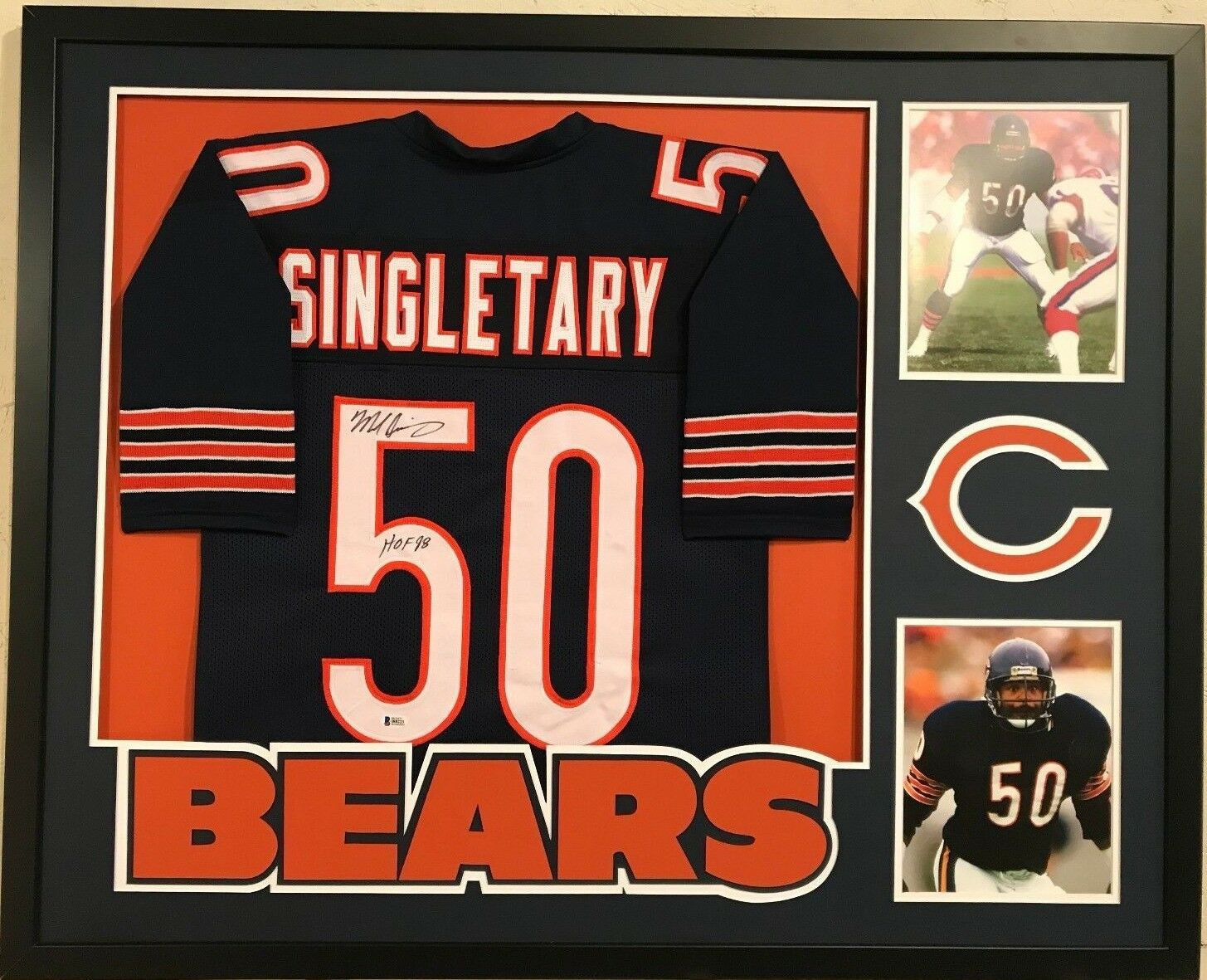 on sale e6a0a 667f4 Framed Mike Singletary Autographed Signed Inscribed Chicago ...