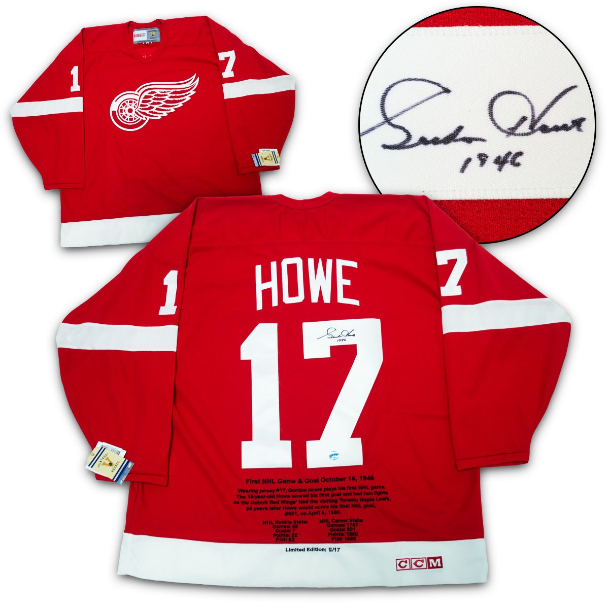 0a93baef0b6 Gordie Howe Detroit Red Wings Autographed Signed First Nhl Game Ccm Retro  History Jersey /17 - Certified Authentic