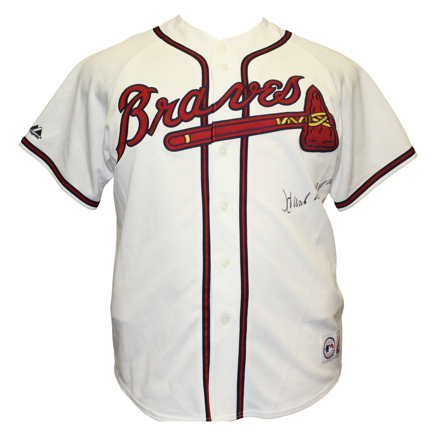 brand new 11509 e5210 Hank Aaron Autographed Signed Atlanta Braves Majestic MLB ...