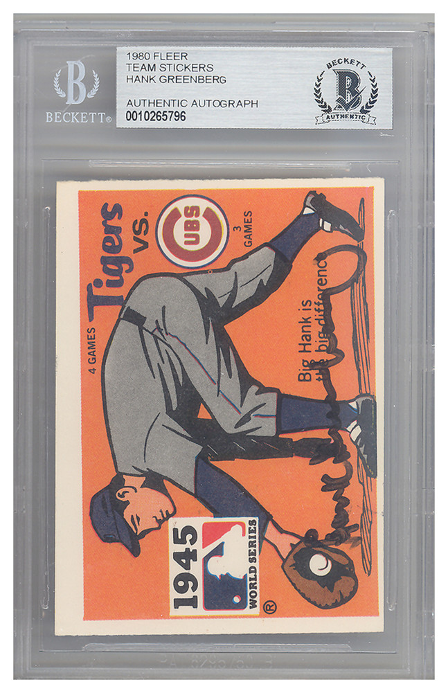 new style 4f3cd 6d6ad Hank Greenberg Autographed Signed 1980 Fleer Sticker Card ...