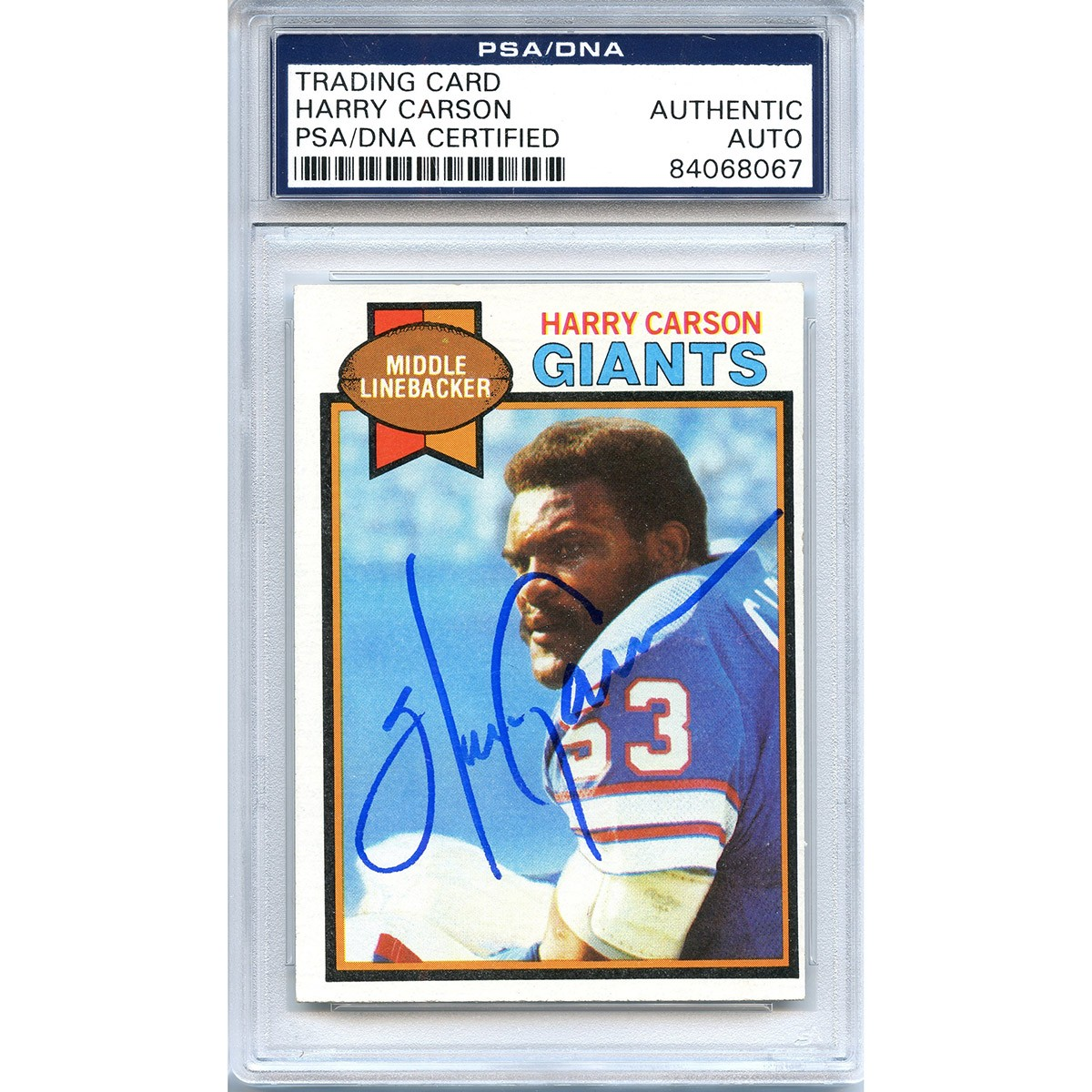 92775d883 Harry Carson Autographed Signed 1978 Topps Trading Card - PSA DNA Authentic