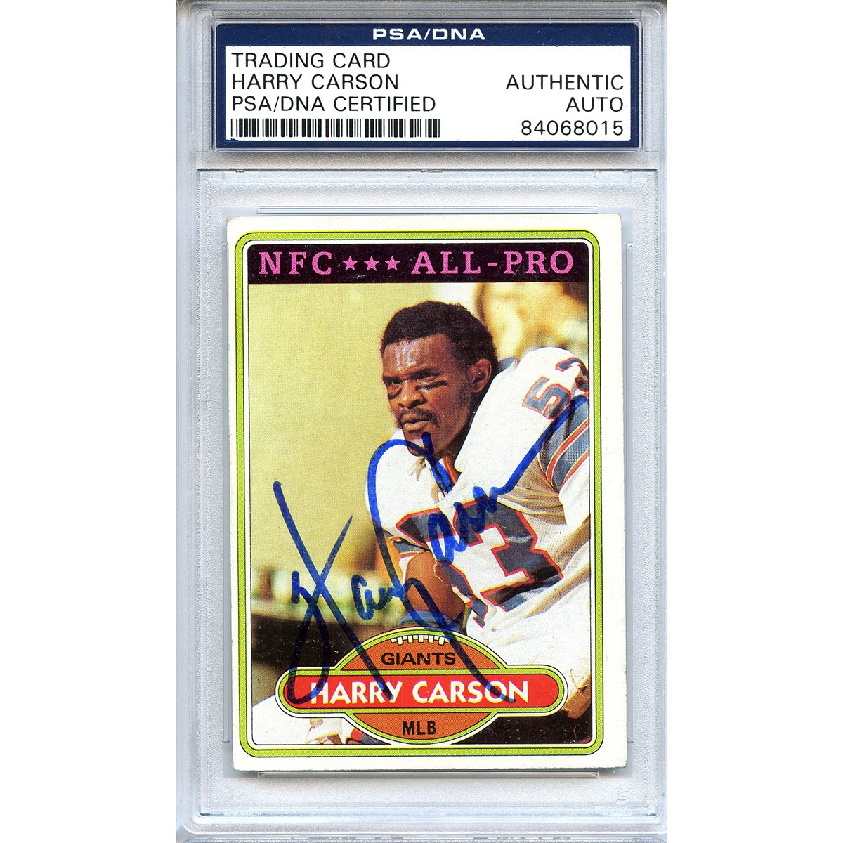 eb19ee8c4 Harry Carson Autographed Signed 1980 Topps All Pro Trading Card - PSA DNA  Authentic