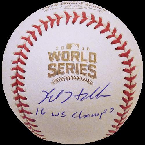 9fbcb279f70 Kyle Hendricks Autographed Signed Auto 2016 World Series Logo MLB ...
