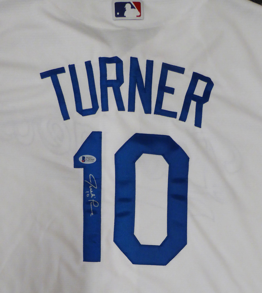 Los Angeles Dodgers Justin Turner Autographed Signed White Majestic ... 1eb94f33e95