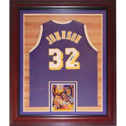 51e8b3c5d35 Magic Johnson Autographed Signed Auto Los Angeles Lakers Purple  32 ...