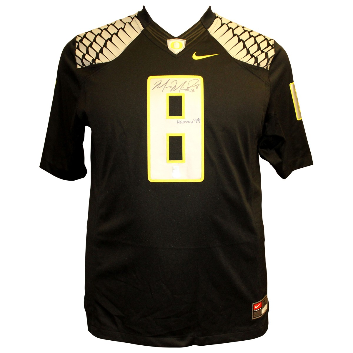 ea254d65ec0 Marcus Mariota Autographed Signed Oregon Ducks Nike On Field Black Jersey  with Silver/Yellow Wings and Numbers - Heisman 14 Inscription - PSA/DNA  Authentic