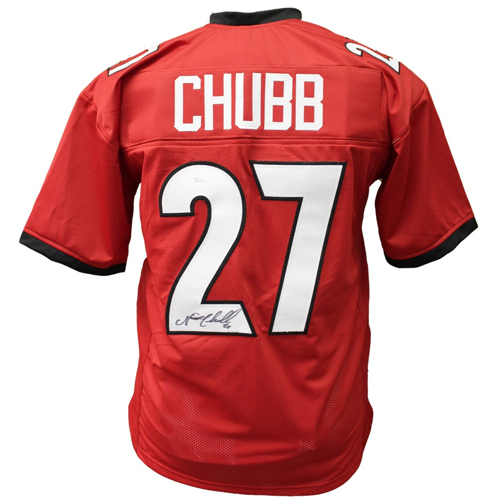 buy online 9dbdf 4e10c Nick Chubb Georgia Bulldogs Autographed Signed Red Jersey ...