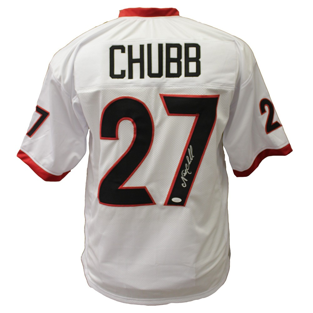 save off 22c0a 7ec44 Nick Chubb Georgia Bulldogs Autographed Signed White Jersey ...