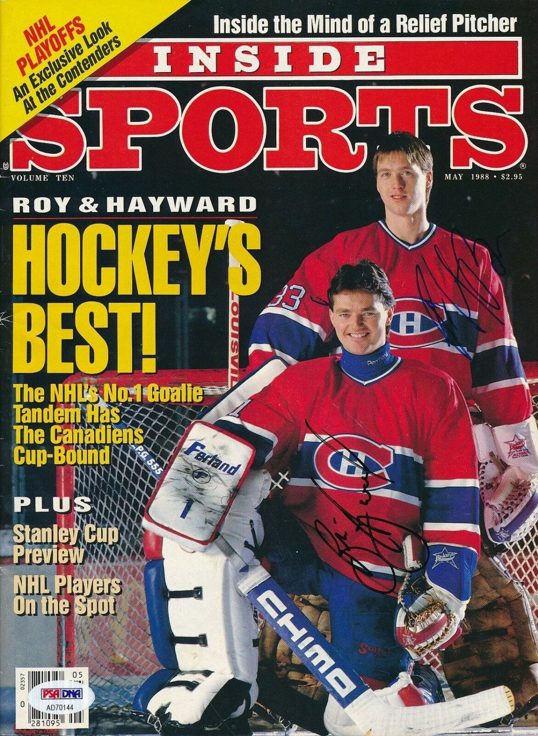 brand new a0751 31403 Patrick Roy & Hayward Autographed Signed 5/88 Inside Sports ...