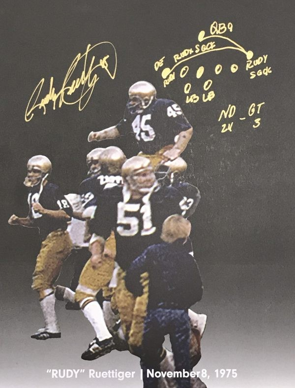 8 Notre Dame Legend Rudy Ruettiger On Kick off Nov 1975 Autographed 8x10 Photo Picture