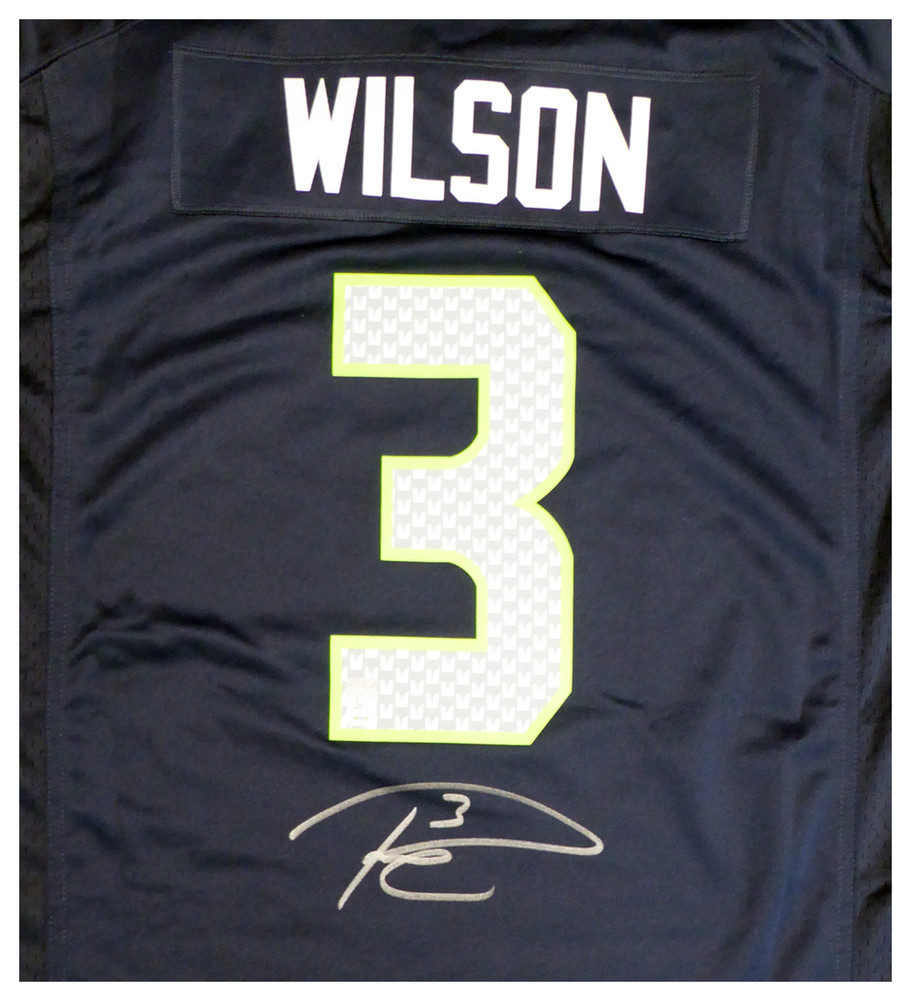 c7c680e8c Seattle Seahawks Russell Wilson Autographed Signed Blue Nike Jersey ...